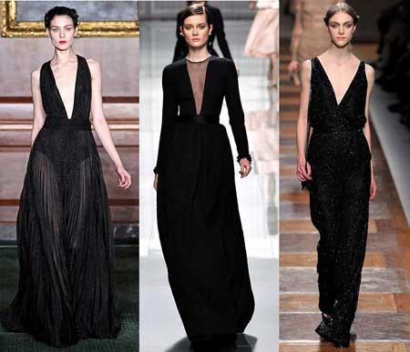 черные платья 2013 с V-образным вырезом