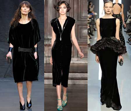 бархатные черные платья 2013