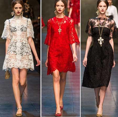 белое, красное и черное кружевные платья 2014 от Дольче и Габбана