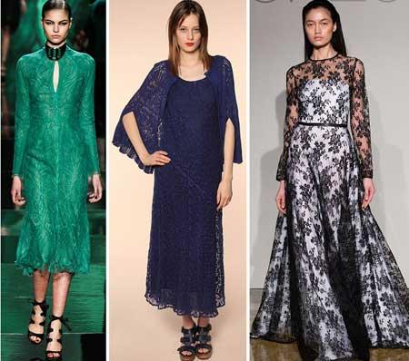 модели нарядных кружевных платьев 2014