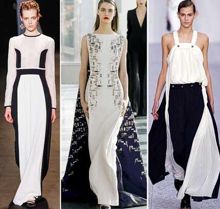 черно-белые длинные платья 2014