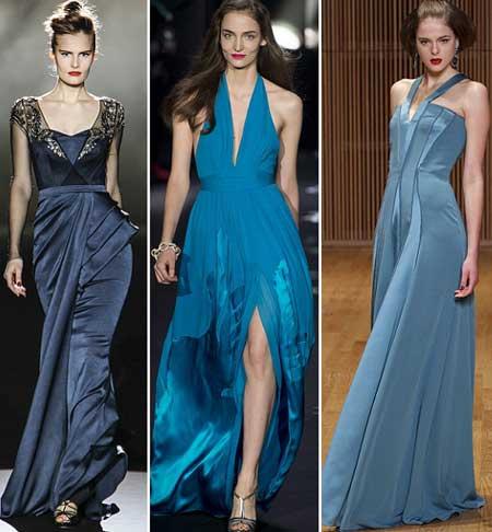 вечерние длинные платья 2014 в синих тонах