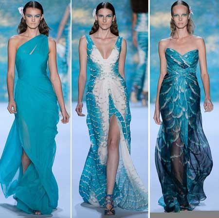 длинные платья в голубых тонах для 2013 года
