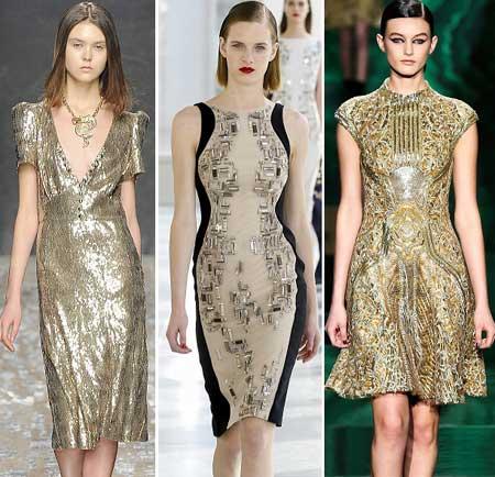 коктейльные платья 2014 с золотистым декором