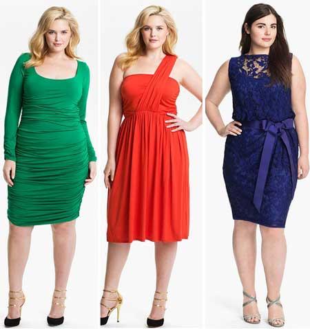 модные цвета коктейльных платьев для полных женщин