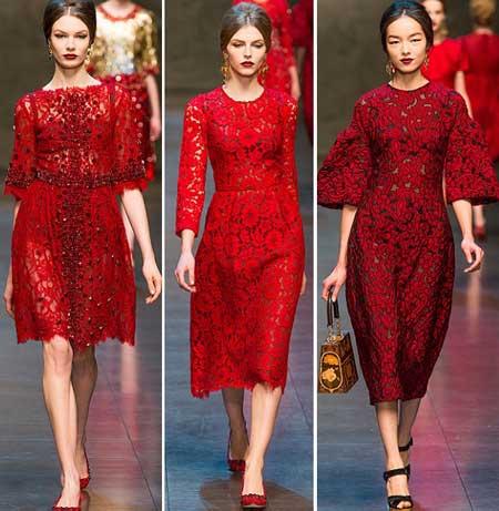 кружевные красные платья 2014