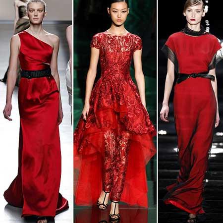 фасоны вечерних красных платьев 2014