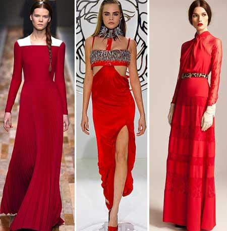 красные платья в пол - вечерние варианты