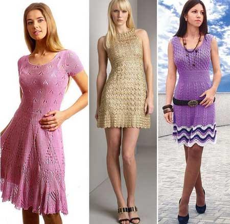 модели вязаных летних платьев