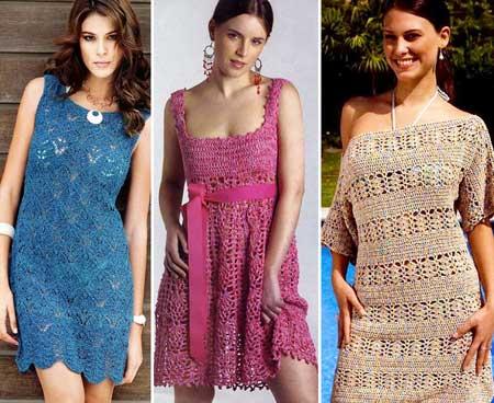 фасоны женских летних вязаных платьев