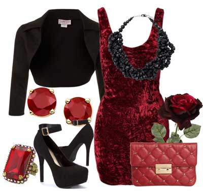 с чем носить платье из темно-красного бархата