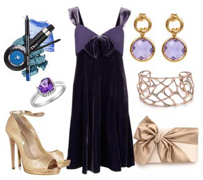 с чем носить платье из пурпурного бархата