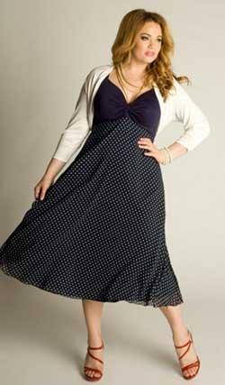 черное платье в мелкий белый горошек для полной женщины