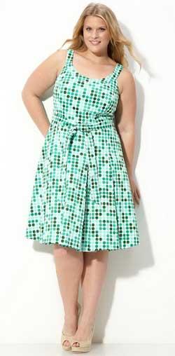 зеленое летнее платье в горошек для полных