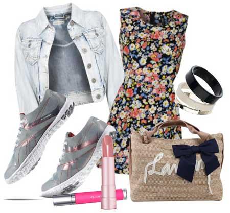 платье в цветочек с джинсовкой и кедами