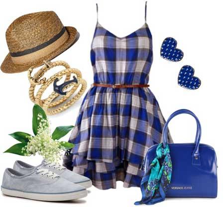 платье-сарафан в клетку с кедами и шляпкой