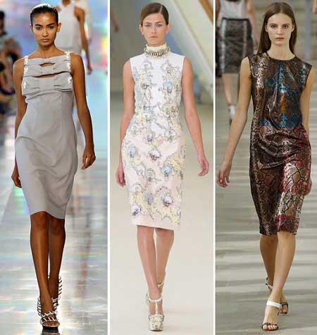коктейльные варианты платьев-футляров 2013