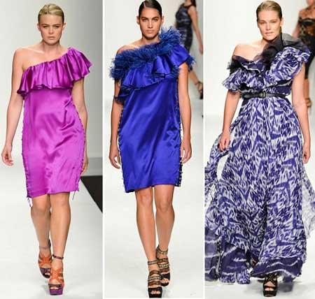 тенденции 2013 - платья для полных на одно плечо
