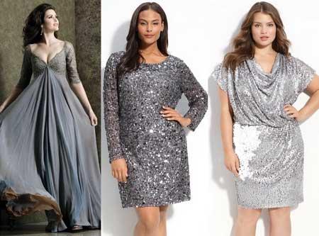 блестящие платья для полных на Новый год 2013