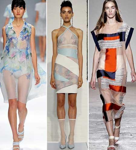 прозрачные платья с принтами