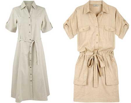 модные платья сафари с короткими рукавами