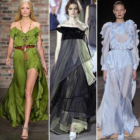 длинные платья с оборками 2013