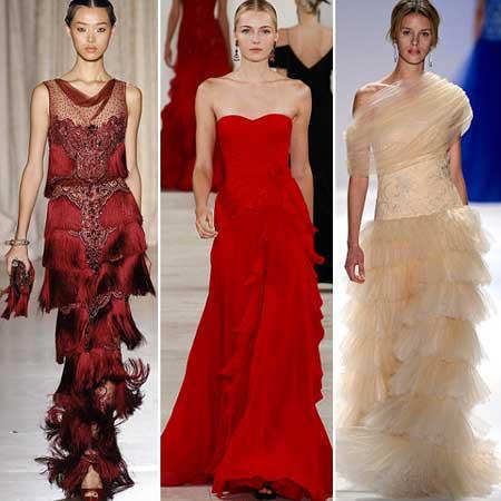 фото вечерних платьев с оборками и рюшами 2013