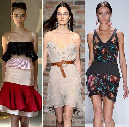 коктейльные летние платья с воланами 2013