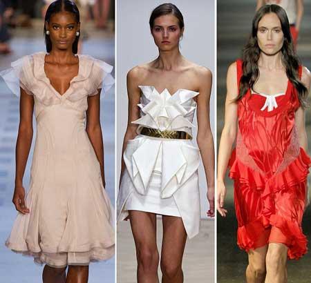 виды оборок на летних платьях 2013