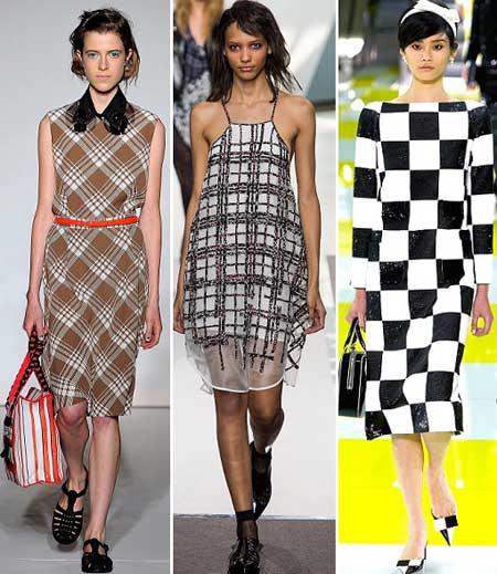 модные платья в клетку 2013
