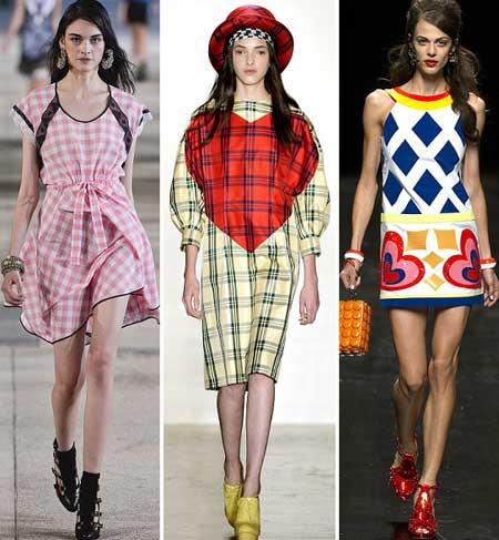 модные клетчатые платья 2013 фото