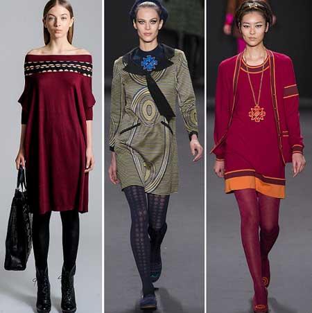 шерстяные платья 2014 - фасон трапеция