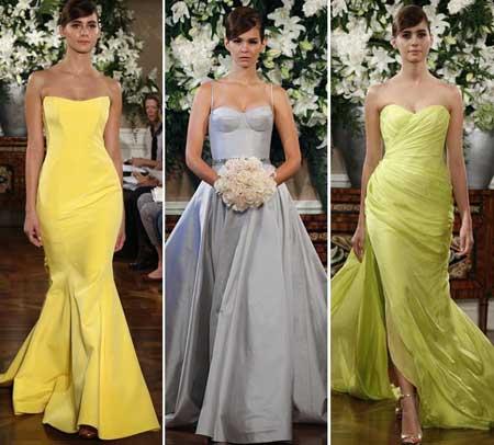 цветные свадебные платья 2014