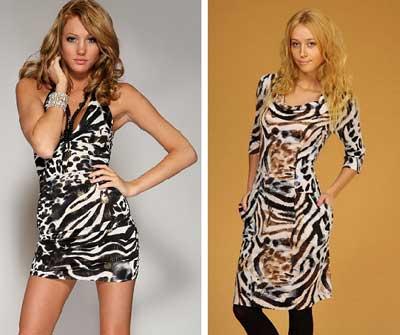 платье с тигровым принтом фото