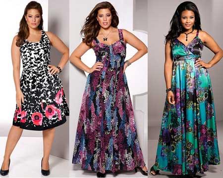 платья для полных на выпускной 2013 - цветочный принт
