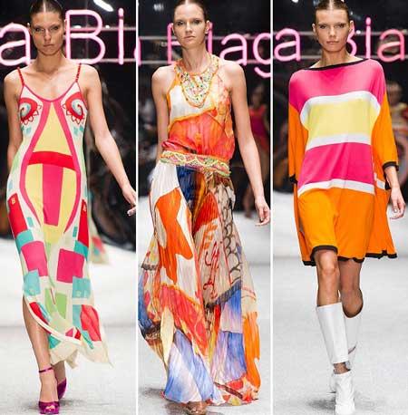 яркие геометрические принты на платьях 2013