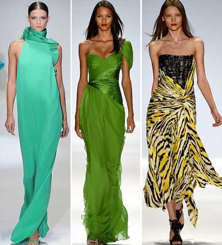 тема природы в ярких платьях 2013