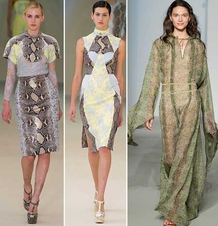 модные платья со змеиным принтом