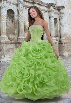 пышное свадебное платье зеленого цвета