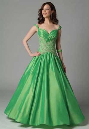 свадебное платье из зеленого атласа