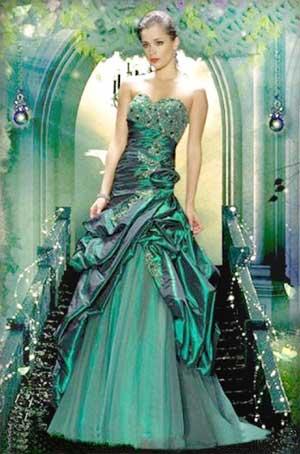 темно-зеленое свадебное платье открытого типа